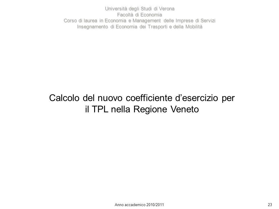 23 Università degli Studi di Verona Facoltà di Economia Corso di laurea in Economia e Management delle Imprese di Servizi Insegnamento di Economia dei Trasporti e della Mobilità Anno accademico 2010/2011 Calcolo del nuovo coefficiente desercizio per il TPL nella Regione Veneto