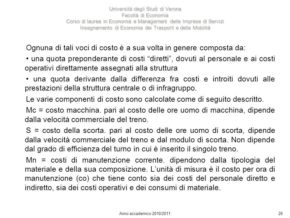 26 Università degli Studi di Verona Facoltà di Economia Corso di laurea in Economia e Management delle Imprese di Servizi Insegnamento di Economia dei