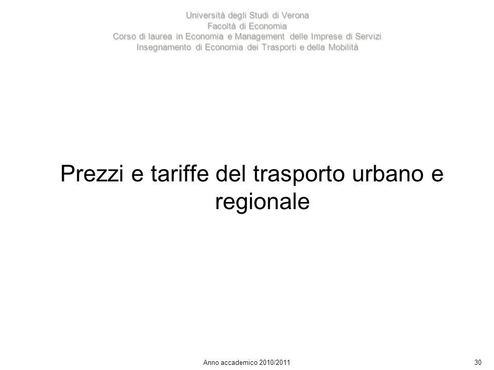 30 Università degli Studi di Verona Facoltà di Economia Corso di laurea in Economia e Management delle Imprese di Servizi Insegnamento di Economia dei Trasporti e della Mobilità Anno accademico 2010/2011 Prezzi e tariffe del trasporto urbano e regionale