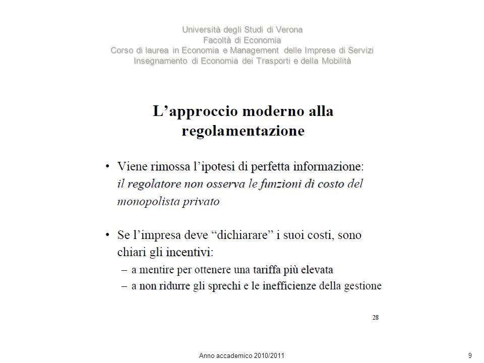 9 Università degli Studi di Verona Facoltà di Economia Corso di laurea in Economia e Management delle Imprese di Servizi Insegnamento di Economia dei Trasporti e della Mobilità Anno accademico 2010/2011