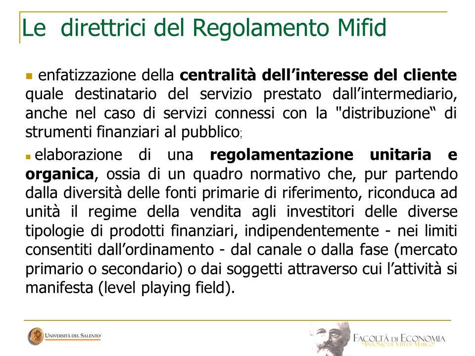 Le direttrici del Regolamento Mifid enfatizzazione della centralità dellinteresse del cliente quale destinatario del servizio prestato dallintermediar