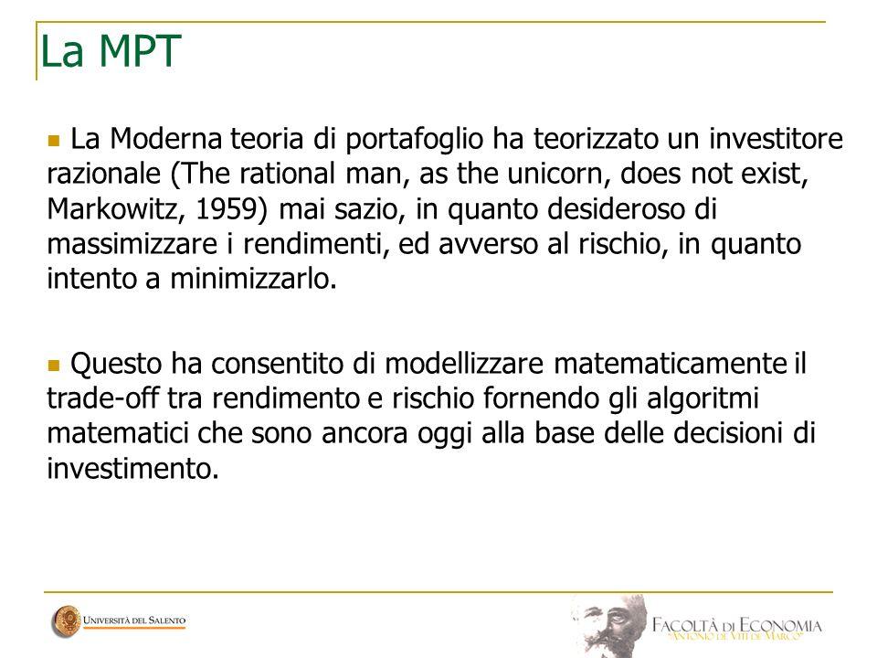 La MPT La Moderna teoria di portafoglio ha teorizzato un investitore razionale (The rational man, as the unicorn, does not exist, Markowitz, 1959) mai