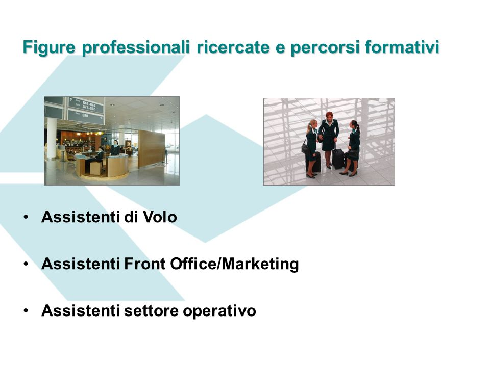Figure professionali ricercate e percorsi formativi Assistenti di Volo Assistenti Front Office/Marketing Assistenti settore operativo
