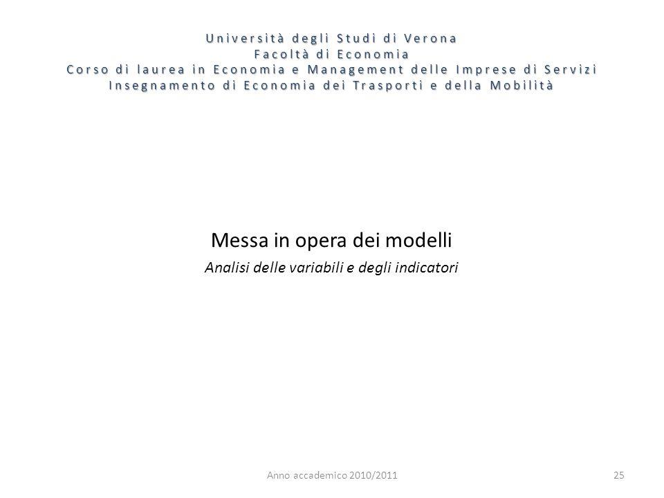 Anno accademico 2010/201125 Messa in opera dei modelli Analisi delle variabili e degli indicatori Università degli Studi di Verona Facoltà di Economia