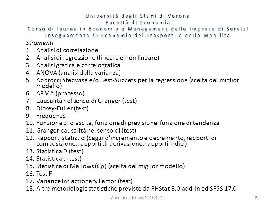 Anno accademico 2010/201129 Strumenti 1.Analisi di correlazione 2.Analisi di regressione (lineare e non lineare) 3.Analisi grafica e correlografica 4.