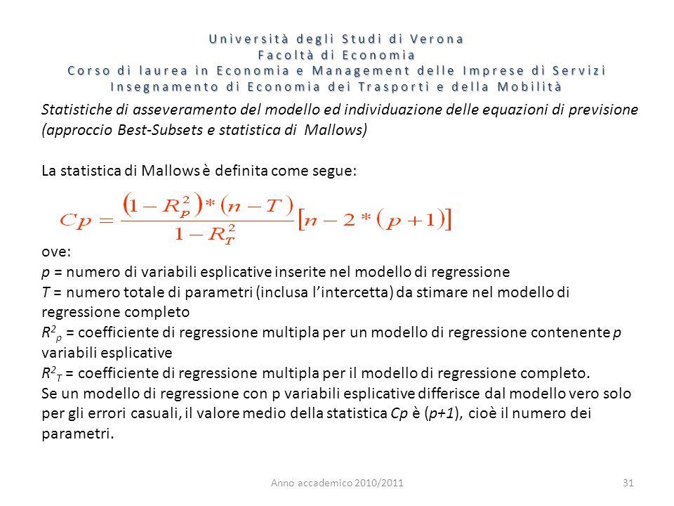 Anno accademico 2010/201131 Statistiche di asseveramento del modello ed individuazione delle equazioni di previsione (approccio Best-Subsets e statist