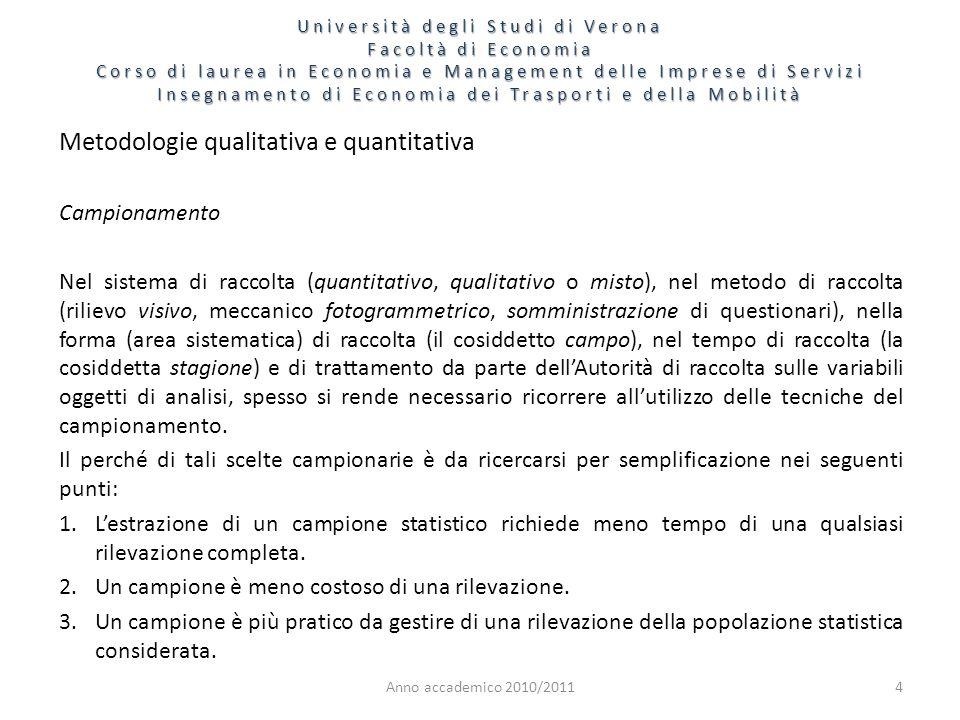 4 Metodologie qualitativa e quantitativa Campionamento Nel sistema di raccolta (quantitativo, qualitativo o misto), nel metodo di raccolta (rilievo vi