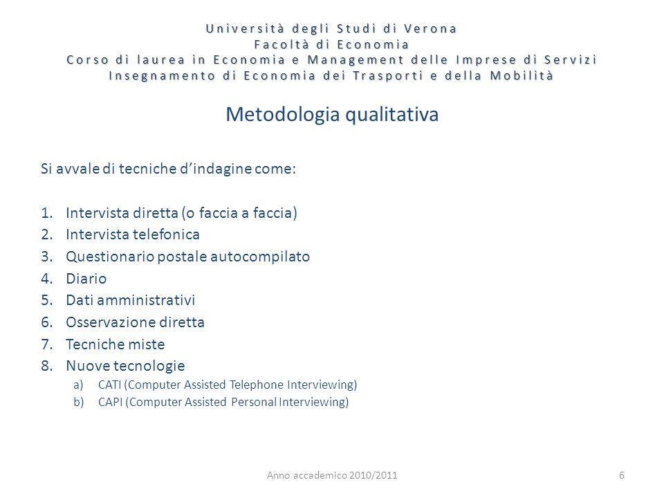 6 Metodologia qualitativa Si avvale di tecniche dindagine come: 1.Intervista diretta (o faccia a faccia) 2.Intervista telefonica 3.Questionario postal