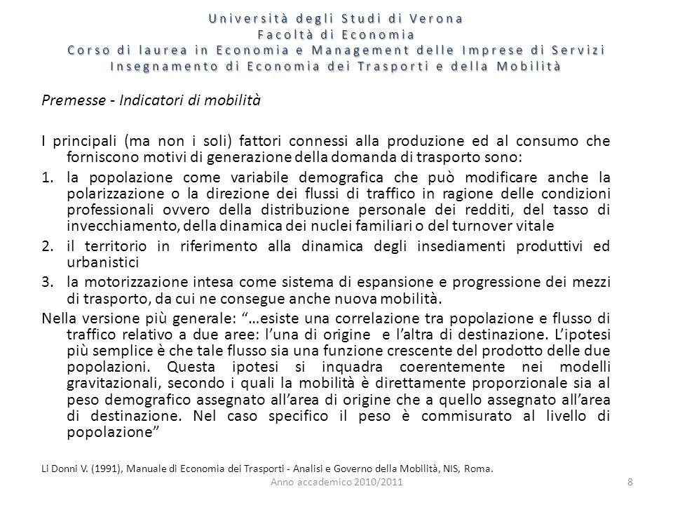Anno accademico 2010/20118 Premesse - Indicatori di mobilità I principali (ma non i soli) fattori connessi alla produzione ed al consumo che forniscon