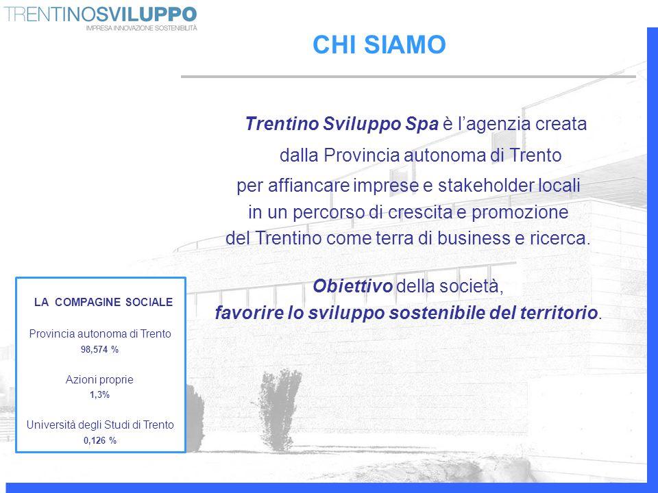 CHI SIAMO Trentino Sviluppo Spa è lagenzia creata dalla Provincia autonoma di Trento per affiancare imprese e stakeholder locali in un percorso di cre
