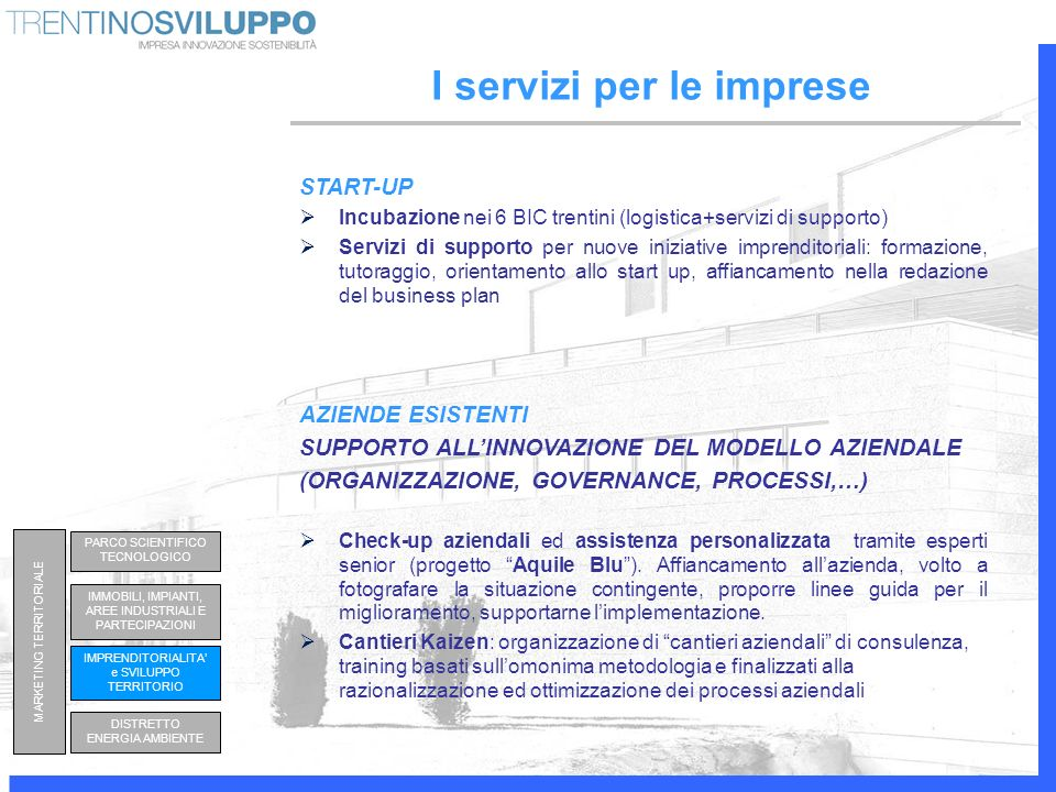 START-UP Incubazione nei 6 BIC trentini (logistica+servizi di supporto) Servizi di supporto per nuove iniziative imprenditoriali: formazione, tutoragg