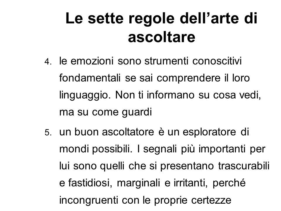 Le sette regole dellarte di ascoltare 4. le emozioni sono strumenti conoscitivi fondamentali se sai comprendere il loro linguaggio. Non ti informano s