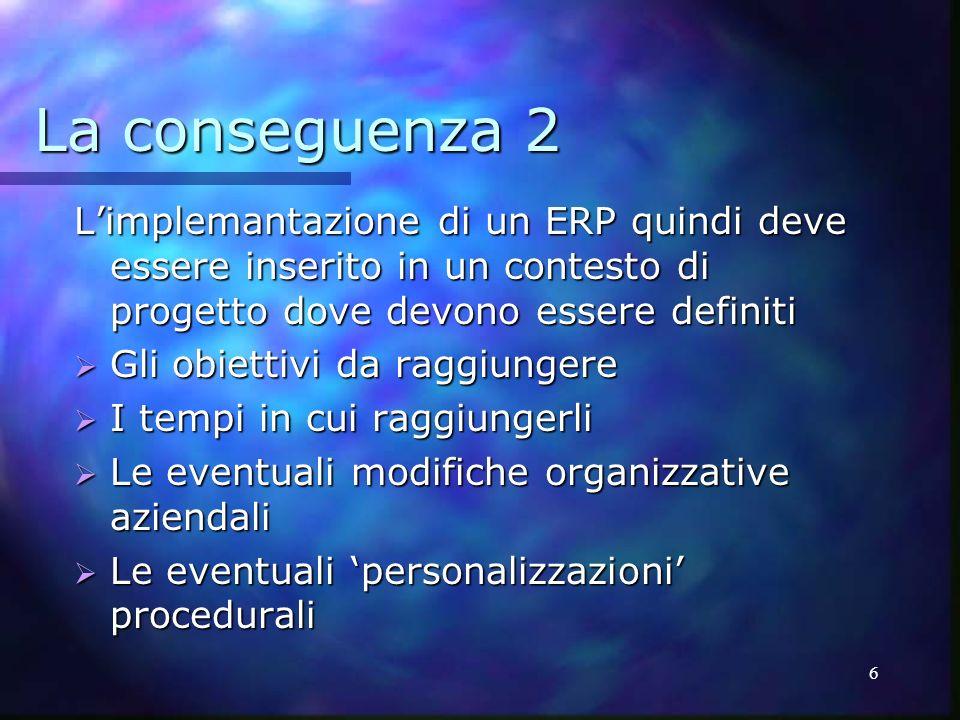 6 La conseguenza 2 Limplemantazione di un ERP quindi deve essere inserito in un contesto di progetto dove devono essere definiti Gli obiettivi da ragg