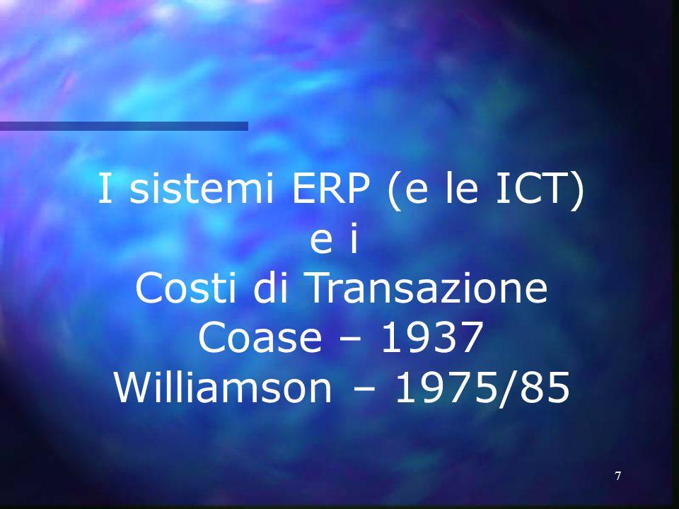 7 I sistemi ERP (e le ICT) e i Costi di Transazione Coase – 1937 Williamson – 1975/85