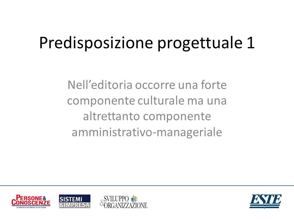 Predisposizione progettuale 1 Nelleditoria occorre una forte componente culturale ma una altrettanto componente amministrativo-manageriale