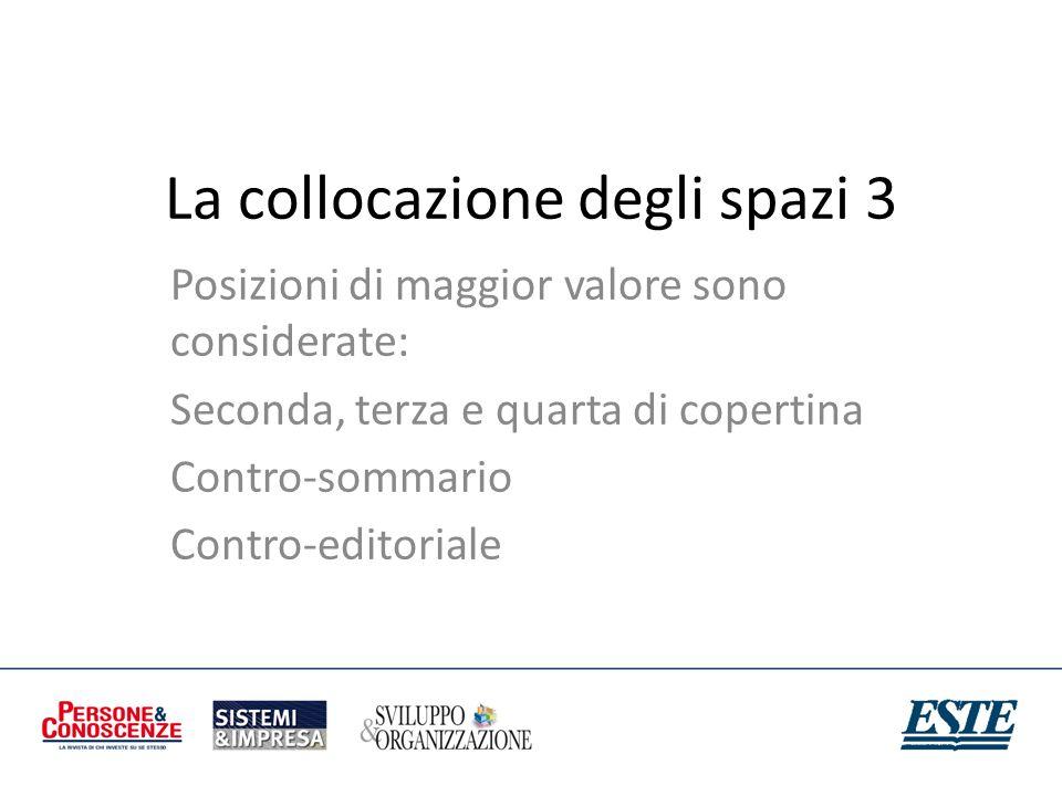 La collocazione degli spazi 3 Posizioni di maggior valore sono considerate: Seconda, terza e quarta di copertina Contro-sommario Contro-editoriale