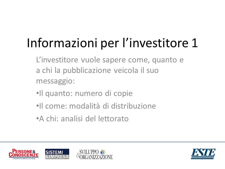 Informazioni per linvestitore 1 Linvestitore vuole sapere come, quanto e a chi la pubblicazione veicola il suo messaggio: Il quanto: numero di copie I