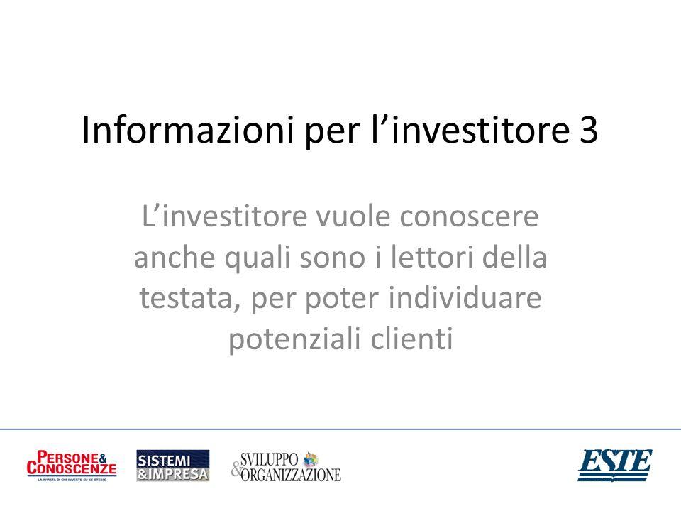 Informazioni per linvestitore 3 Linvestitore vuole conoscere anche quali sono i lettori della testata, per poter individuare potenziali clienti