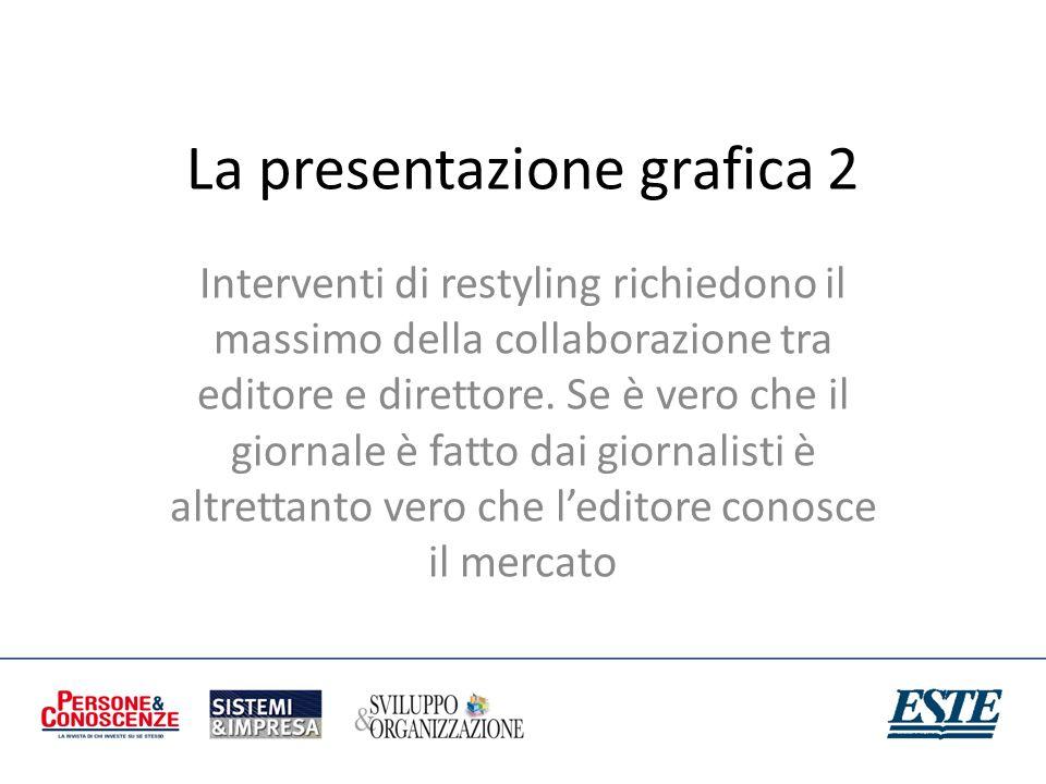 La presentazione grafica 2 Interventi di restyling richiedono il massimo della collaborazione tra editore e direttore. Se è vero che il giornale è fat