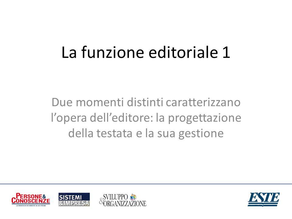 La funzione editoriale 1 Due momenti distinti caratterizzano lopera delleditore: la progettazione della testata e la sua gestione