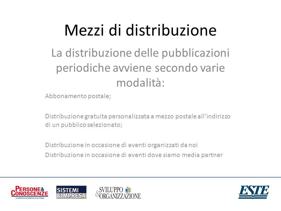 Mezzi di distribuzione La distribuzione delle pubblicazioni periodiche avviene secondo varie modalità: Abbonamento postale; Distribuzione gratuita per