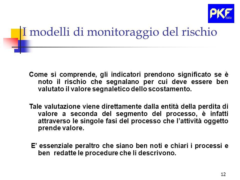 12 I modelli di monitoraggio del rischio Come si comprende, gli indicatori prendono significato se è noto il rischio che segnalano per cui deve essere