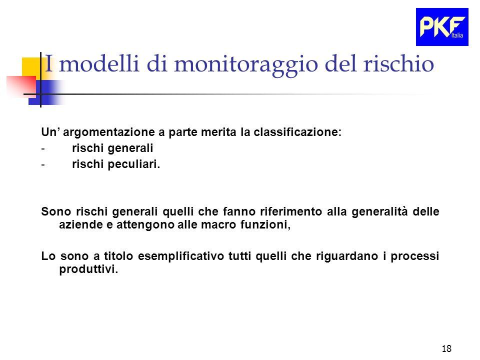 18 I modelli di monitoraggio del rischio Un argomentazione a parte merita la classificazione: - rischi generali - rischi peculiari. Sono rischi genera