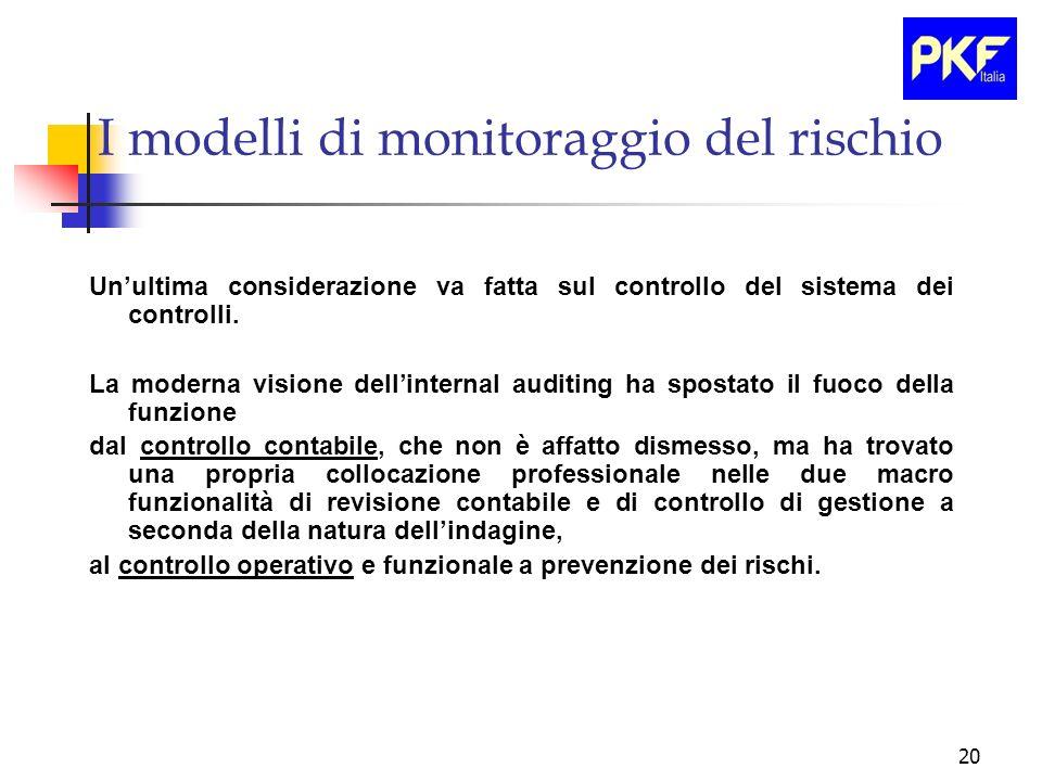 20 I modelli di monitoraggio del rischio Unultima considerazione va fatta sul controllo del sistema dei controlli. La moderna visione dellinternal aud