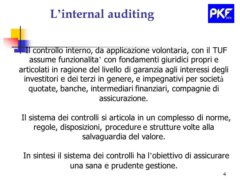 4 L internal auditing Il controllo interno, da applicazione volontaria, con il TUF assume funzionalita con fondamenti giuridici propri e articolati in