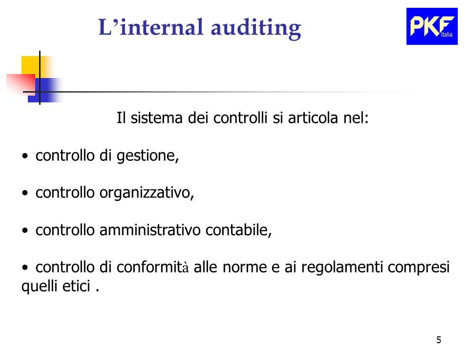 5 L internal auditing Il sistema dei controlli si articola nel: controllo di gestione, controllo organizzativo, controllo amministrativo contabile, co