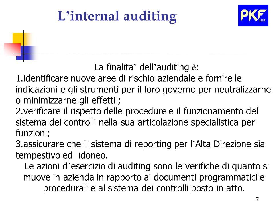 7 L internal auditing La finalita dell auditing è : 1.identificare nuove aree di rischio aziendale e fornire le indicazioni e gli strumenti per il lor