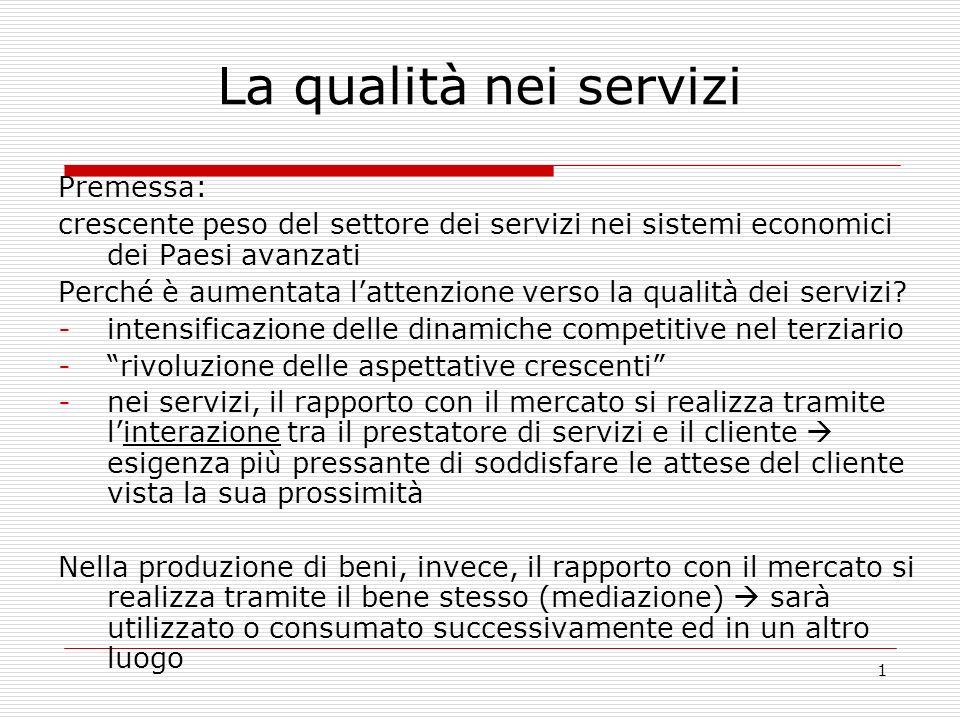 1 La qualità nei servizi Premessa: crescente peso del settore dei servizi nei sistemi economici dei Paesi avanzati Perché è aumentata lattenzione vers
