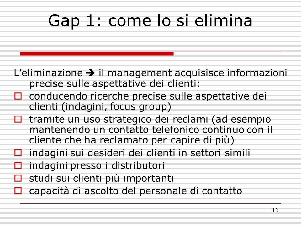 13 Gap 1: come lo si elimina Leliminazione il management acquisisce informazioni precise sulle aspettative dei clienti: conducendo ricerche precise su