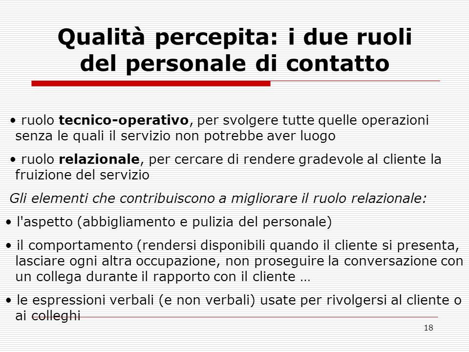 18 Qualità percepita: i due ruoli del personale di contatto ruolo tecnico operativo, per svolgere tutte quelle operazioni senza le quali il servizio n