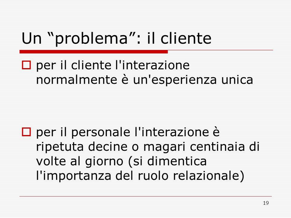 19 Un problema: il cliente per il cliente l'interazione normalmente è un'esperienza unica per il personale l'interazione è ripetuta decine o magari ce