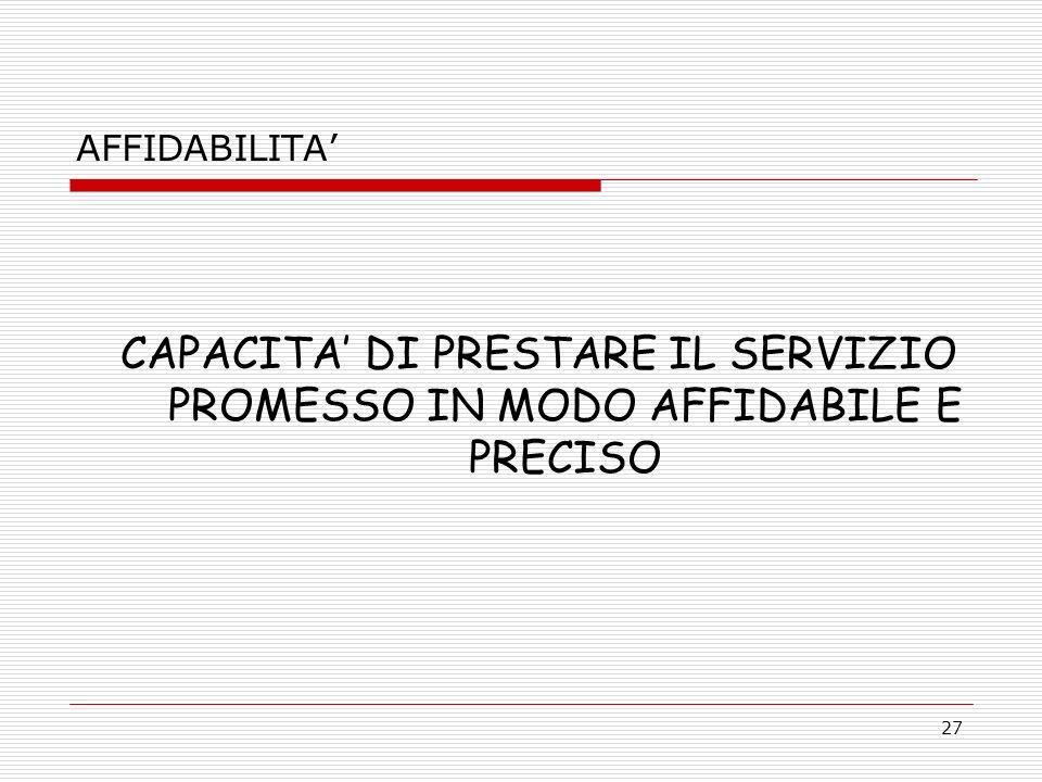 27 AFFIDABILITA CAPACITA DI PRESTARE IL SERVIZIO PROMESSO IN MODO AFFIDABILE E PRECISO