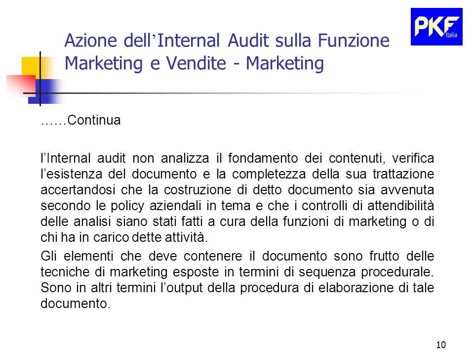 10 Azione dell Internal Audit sulla Funzione Marketing e Vendite - Marketing ……Continua lInternal audit non analizza il fondamento dei contenuti, veri