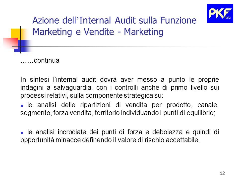 12 Azione dell Internal Audit sulla Funzione Marketing e Vendite - Marketing ……continua In sintesi linternal audit dovrà aver messo a punto le proprie