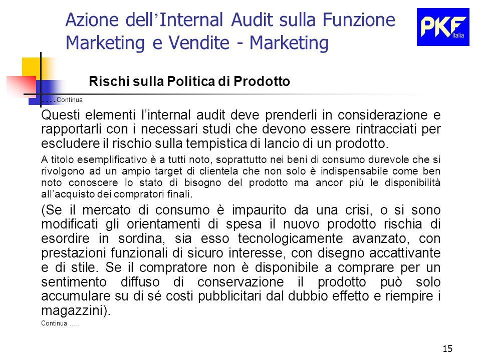 15 Azione dell Internal Audit sulla Funzione Marketing e Vendite - Marketing Rischi sulla Politica di Prodotto …. Continua Questi elementi linternal a