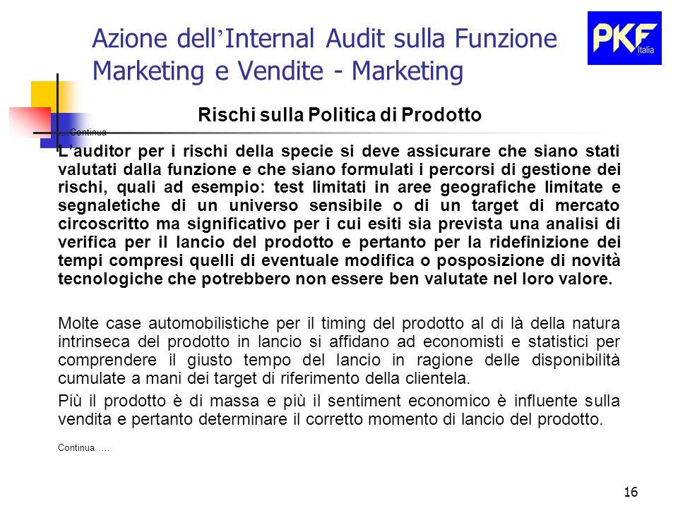 16 Azione dell Internal Audit sulla Funzione Marketing e Vendite - Marketing Rischi sulla Politica di Prodotto ….Continua Lauditor per i rischi della