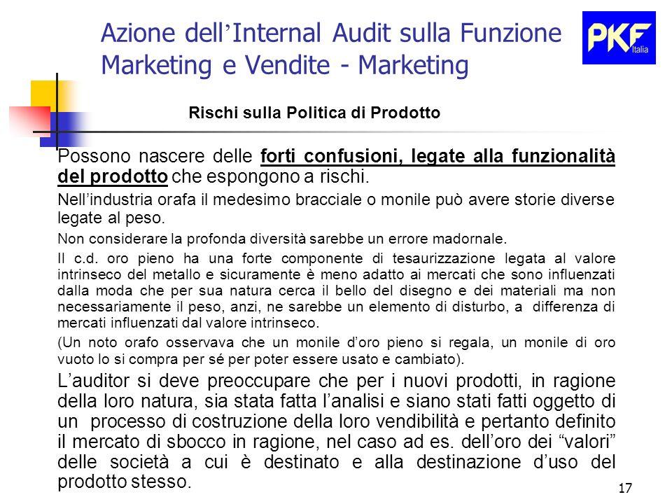 17 Azione dell Internal Audit sulla Funzione Marketing e Vendite - Marketing Rischi sulla Politica di Prodotto Possono nascere delle forti confusioni,
