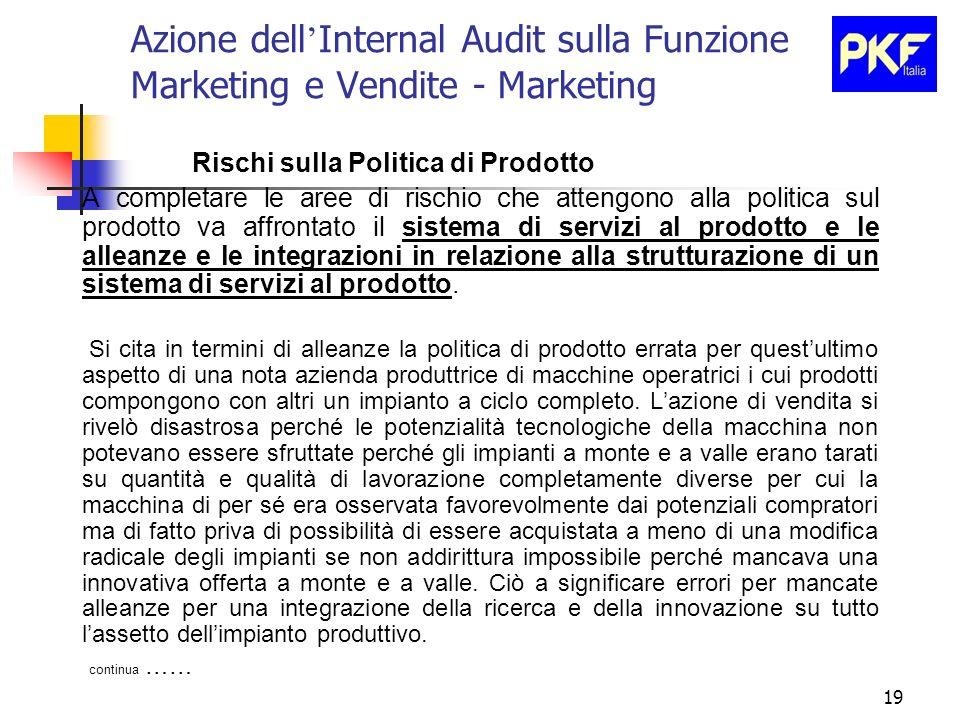 19 Azione dell Internal Audit sulla Funzione Marketing e Vendite - Marketing Rischi sulla Politica di Prodotto A completare le aree di rischio che att