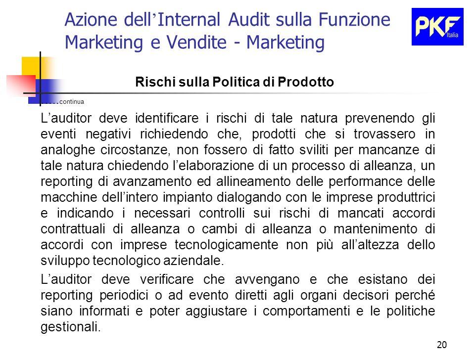 20 Azione dell Internal Audit sulla Funzione Marketing e Vendite - Marketing Rischi sulla Politica di Prodotto ….. continua Lauditor deve identificare