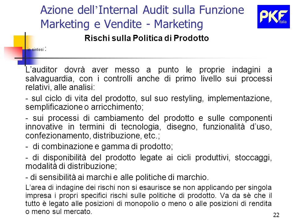 22 Azione dell Internal Audit sulla Funzione Marketing e Vendite - Marketing Rischi sulla Politica di Prodotto in sintesi : Lauditor dovrà aver messo