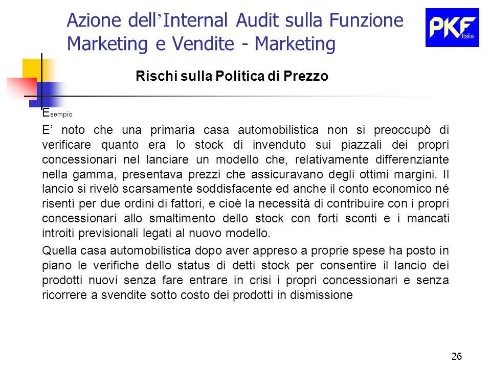26 Azione dell Internal Audit sulla Funzione Marketing e Vendite - Marketing Rischi sulla Politica di Prezzo E sempio E noto che una primaria casa aut