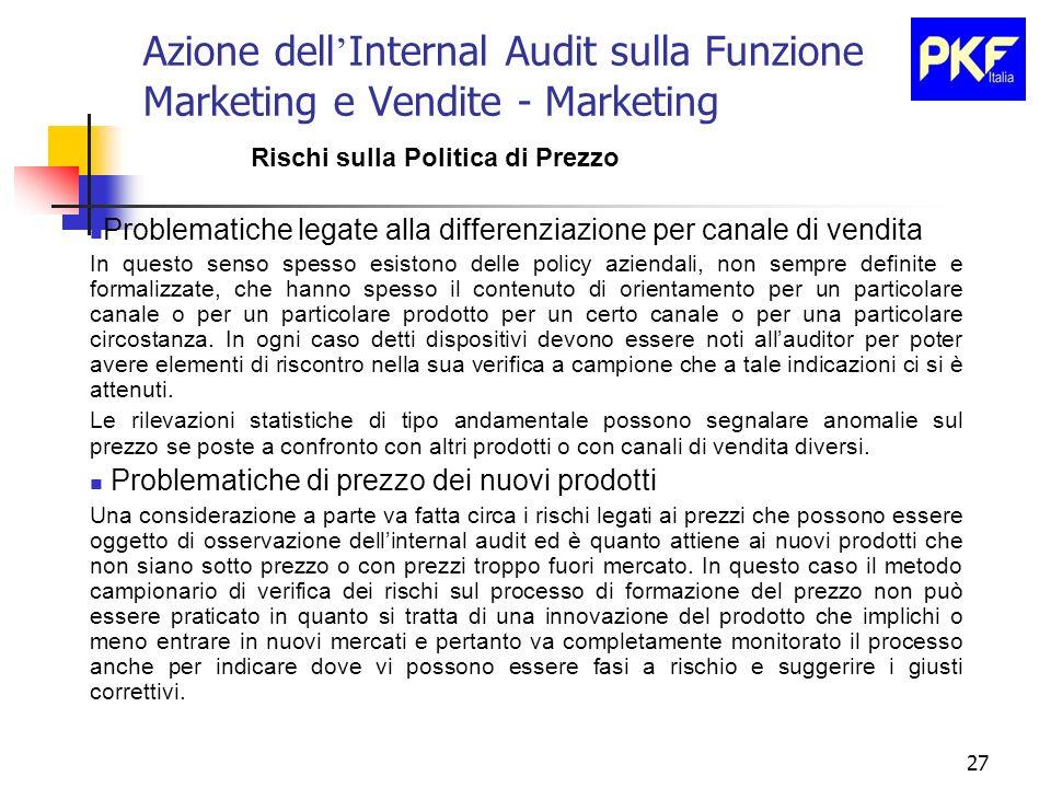 27 Azione dell Internal Audit sulla Funzione Marketing e Vendite - Marketing Rischi sulla Politica di Prezzo Problematiche legate alla differenziazion