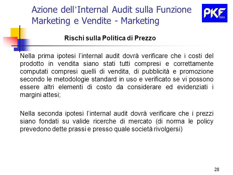 28 Azione dell Internal Audit sulla Funzione Marketing e Vendite - Marketing Rischi sulla Politica di Prezzo Nella prima ipotesi linternal audit dovrà