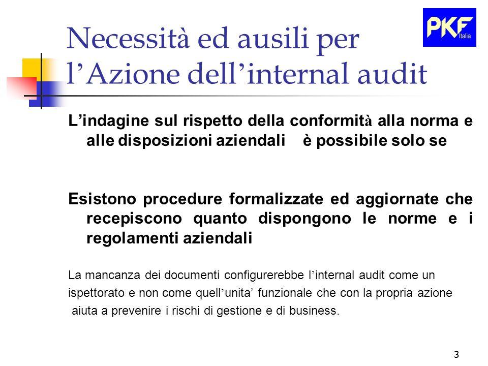 3 Necessit à ed ausili per l Azione dell internal audit Lindagine sul rispetto della conformit à alla norma e alle disposizioni aziendali è possibile