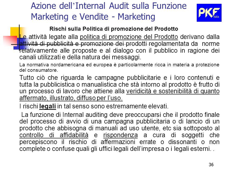 36 Azione dell Internal Audit sulla Funzione Marketing e Vendite - Marketing Rischi sulla Politica di promozione del Prodotto Le attività legate alla