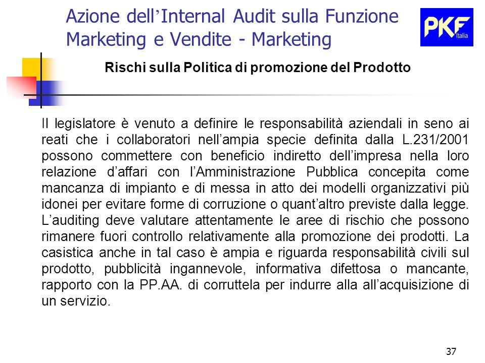 37 Azione dell Internal Audit sulla Funzione Marketing e Vendite - Marketing Rischi sulla Politica di promozione del Prodotto Il legislatore è venuto